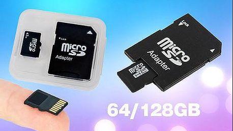 Micro SD karta s adaptérem o velikosti 64 GB nebo 128 GB s dopravou zdarma