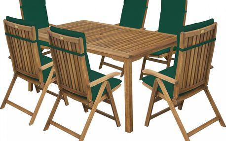 FIELDMANN CALYPSO 6 S POLSTRY ZELENÁ (2015) (stůl + 6 židlí)