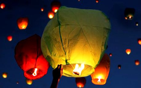 Pošlete svá přání do nebes! Sada 10 lampiónů štěstí
