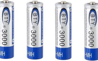 Nabíjecí AA tužkové baterie 3000mAh - 4ks