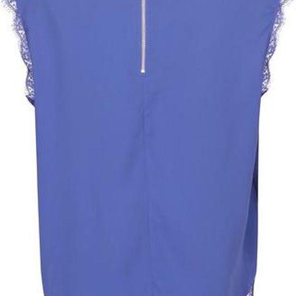 Modrý top s krajkovými detaily Noisy May Mena3