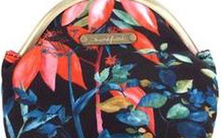 Černá retro peněženka s květinovým vzorem Skunkfunk Tavallera