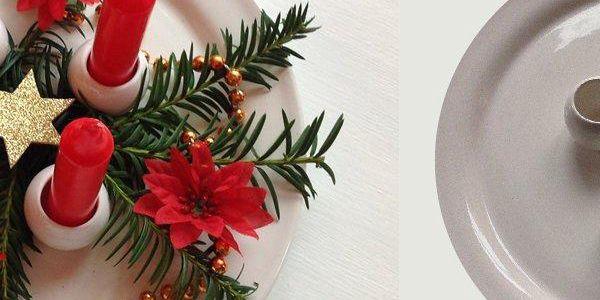 Keramický svícen v bílé barvě ve tvaru talíře na 4 svíčky.