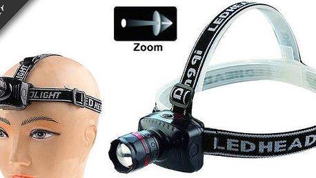 LED čelová lampa- vysoce svítivá s nepřetržitým svícením 10 hodin, která dosvítí až 150 metrů!