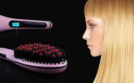 Ionizační kartáč s LCD displejem na žehlení vlasů.