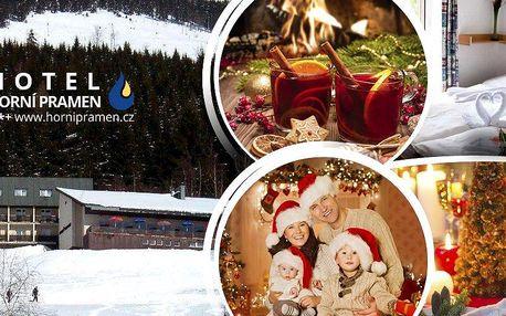 Kouzelné Vánoce ve Špindlerově Mlýně v hotelu Horní Pramen se slevou na skipas pro 1 osobu na 5 dní.