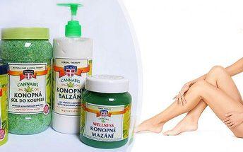Wellness Konopná sada XXL - sada obsahuje: konopný masážní gel, konopnou sůl do koupele, konopný tělový balzám, konopné wellness mazání. Konopí má skvělé stimulační, antibakteriální a regenerační vlastnosti.