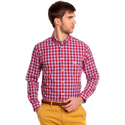 Chaps slušivá pánská košile s kostičkovaným designem M červená