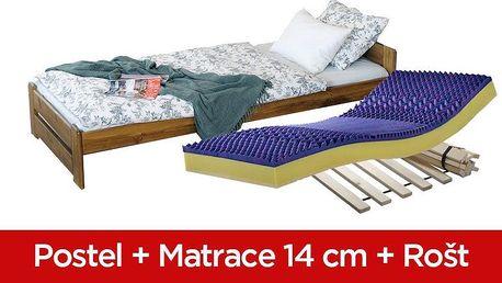 Magnat | POSTEL NIKA 90 x 200 + SENDVIČOVÁ MATRACE + ROŠT - bezbarvý