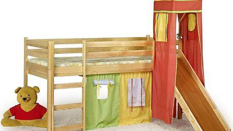 HM MÖBEL | Patrová postel FLO s matrací a hradem 80 x 190 cm - borovice