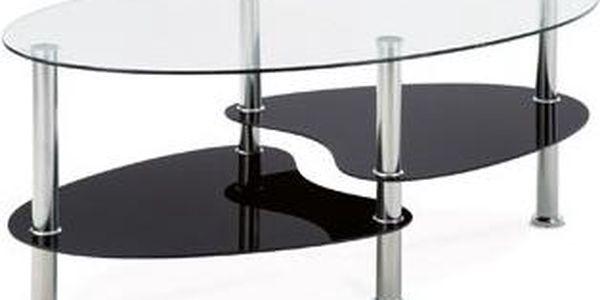 Konf. stolek, sklo/police černé sklo/leštěný nerez GGCT-302 GBK