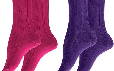Tchibo, Ponožky s bavlnou, 2 páry, růžové a fialové 35-38