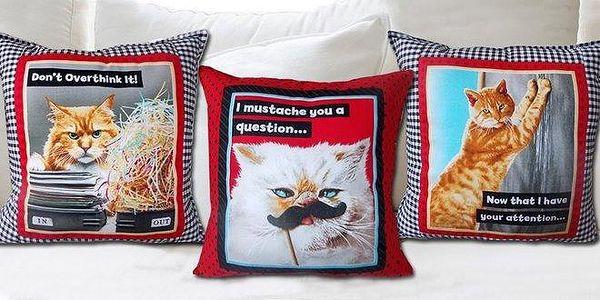 Kvalitní bavlněné polštářky Funny Cats