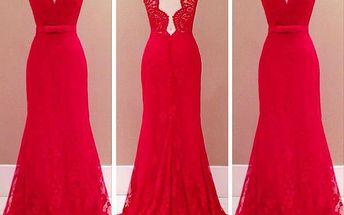 Dámské krajkové šaty v rudé barvě