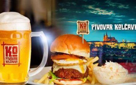 2x 400g Farmer's burger, hranolky, Coleslaw salát + prohlídka s ochutnávkou piva - PIVOVAR Kolčavka Praha!