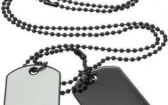 Vojenské psí známky na krk - černobílé