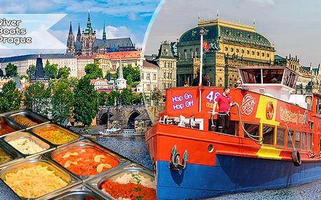 2hod. polední nebo 3hod. večerní vyhlídková plavba lodí po Vltavě pro 1 osobu + raut! All you can eat!