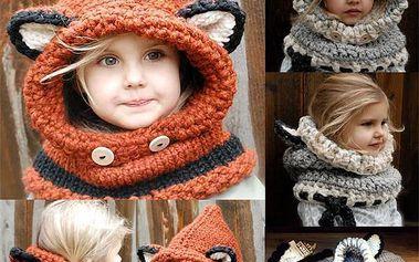 Liška - dětská zimní čepice a šála v 1