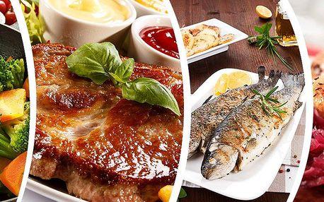 Menu pro dva v centru Prahy v restauraci u Munků. Kotleta, kachna, pstruh nebo losos? Vyberte si!!