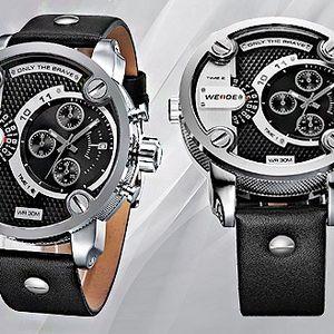 Exkluzivní hodinky Weide brave!! Kožený pásek!! Duální čas!! Luxusní a mohutné provedení!!