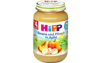HiPP BIO Jablka s banány a broskvemi 6x190g - NOVINKA