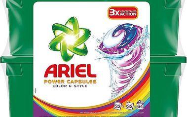 Ariel Power capsules color & style gelové kapsle na praní barevného prádla 64 praní 64 x 28,8 g