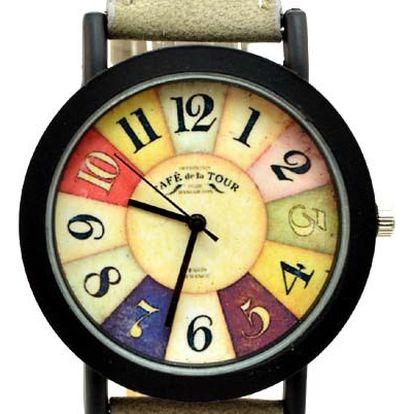 Vintage unisex retro hodinky s barevným ciferníkem