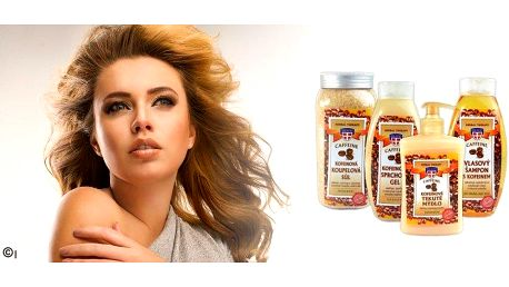 Exkluzivní sada povzbuzující kofeinové kosmetiky pro každou ženu! Vlasový šampon, kofeinový sprchový gel,mýdlo a kofeinová koupelová sůl!!