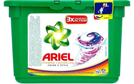 Ariel Power capsules color & style gelové kapsle na praní barevného prádla 15 praní 15 x 28,8 g