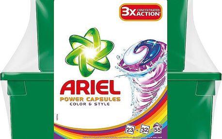 Ariel Power capsules color & style gelové kapsle na praní barevného prádla 55 praní 55 x 28,8 g