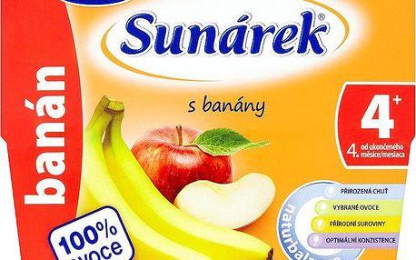 Sunárek 100% ovocný příkrm s banány 4 x 100 g