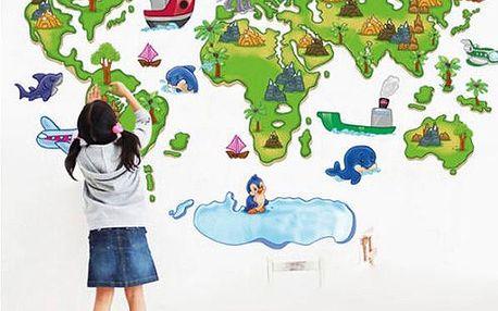 Samolepka na zeď - dětská mapa