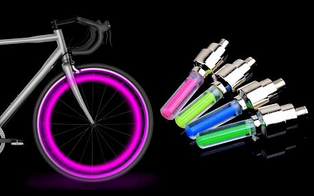 2 kusy svítících LED ventilků na kolo, auto či motorku ve 4 barvách