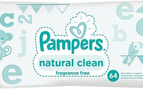 Pampers Vlhčené Ubrousky Naturally Clean 2 x 64 ks