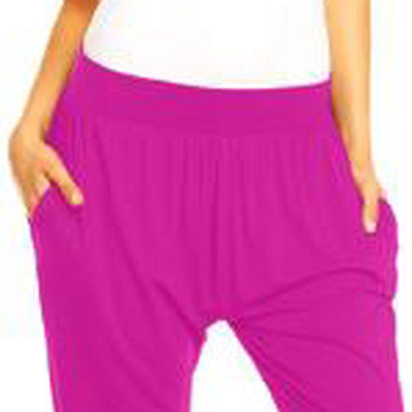 Dámské kalhoty aladinky Megan – růžovo-fialové L/XL