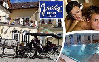 20 wellness procedur - lázeňský wellness pobyt pro dva na 5 dní v luxusním 4* Hotelu Goethe Spa & wellness Mariánské Lázně s polopenzí. Masáže, zábaly, koupele, oxygenoterapie, bazén! Krajina plná minerálních pramenů a romantických výhledů!