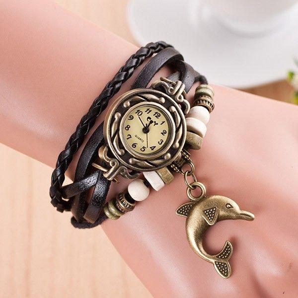 Vícevrstvé dámské hodinky s přívěskem delfína