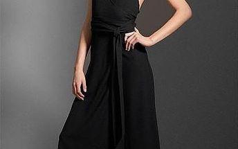 Černé večerní šaty s převazováním - velikost L
