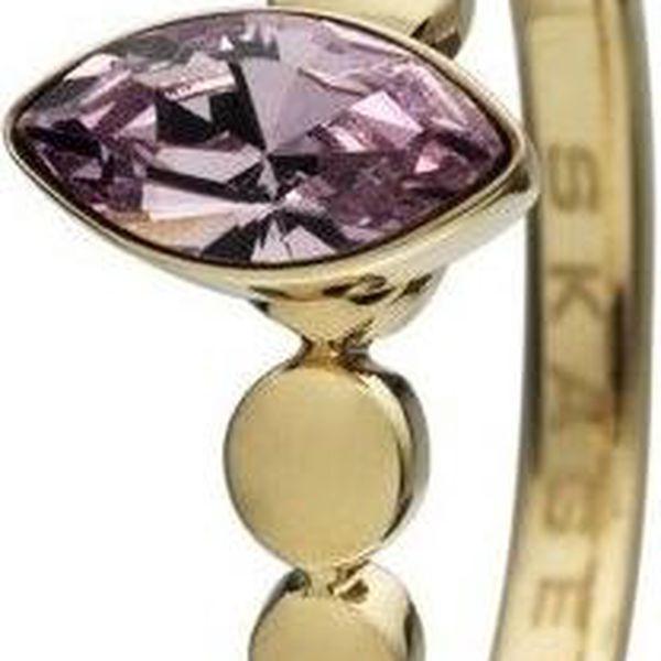Značkový SKAGEN prsten z chirurgické oceli ve zlaté barvě s fialovým kamenem velikost 7