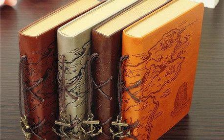 Retro deník v koženém obalu