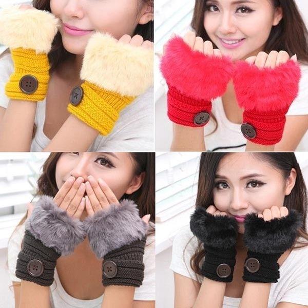 Dámské rukavice s umělým kožíškem
