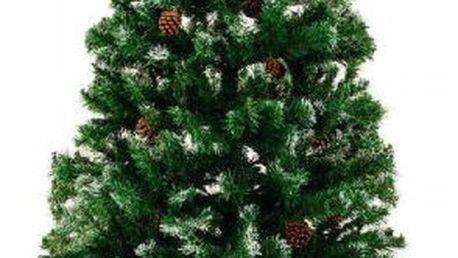 Vánoční stromeček s hustými větvemi - 180 cm se sněhem a šiškami!