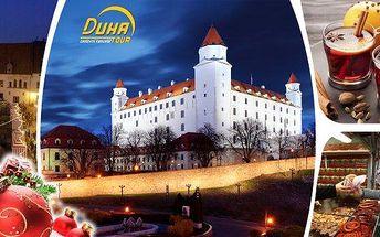 Vánoční Bratislava, jednodenní zájezd 5.12.2015 nebo 12.12.2015 (soboty) s prohlídkou centra, návštěva vánočních trhů, kde na vás čekají samé dobroty, lokše i výborný punč s teplou Demänovkou, na hlavním náměstí je tolik stánků, že nebudete vědět, kam se