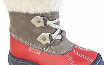 Peddy Dívčí zimní kotníčkové boty - červeno-šedé