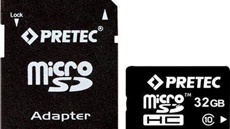 Paměťová karta Pretec microSDHC 32GB (class 10) + adaptér