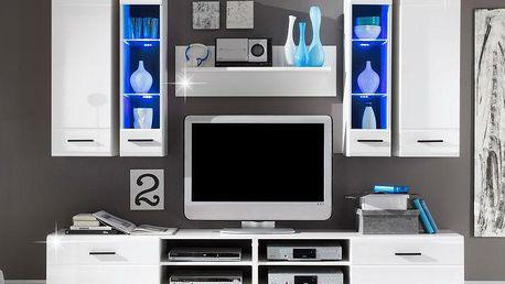 Tempo Kondela | Obývací stěna, LED s osvětlením, sklo/bílá extra vysoký lesk HG, FORSE