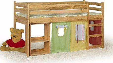 HM MÖBEL | Patrová postel se stolem EMI + matrace + rošt 80 x 190 cm - olše