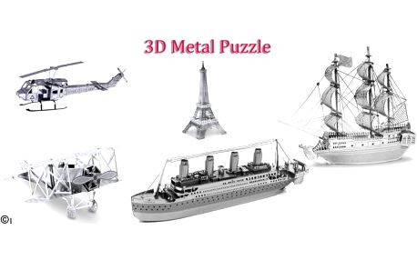 3D kovové puzzle. Vzrušující výzva, zážitek při skládání a oslnivý výsledek! Vytvořte si detailně propracované afascinující model 3D puzzle, sestavte si třeba pirátskou loď či Eiffellovku, na výběr z několika modelů.