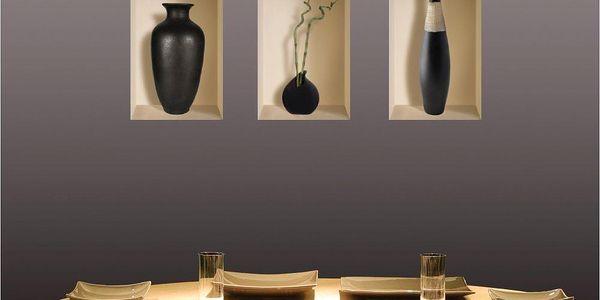 3D samolepky na zeď Vases Louxor, 3 ks