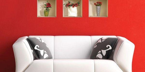 3D samolepky na zeď Roses, 3 ks